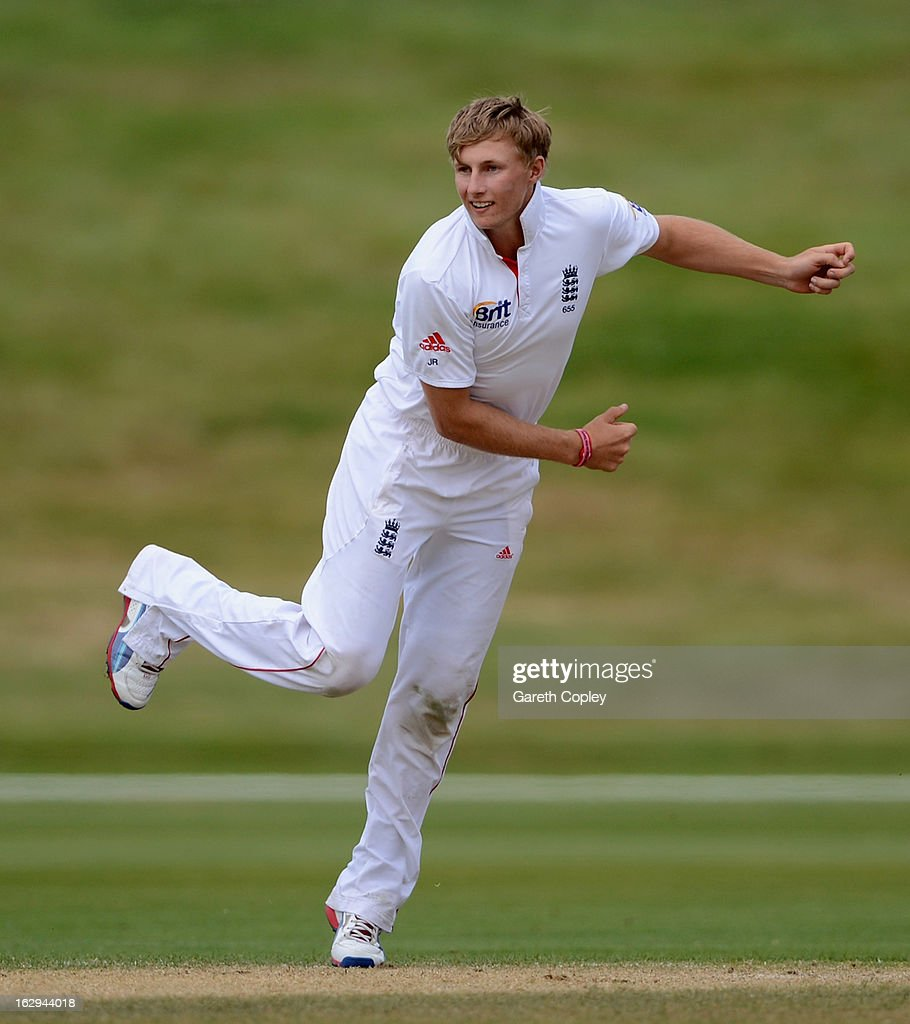 <a gi-track='captionPersonalityLinkClicked' href=/galleries/search?phrase=Joe+Root&family=editorial&specificpeople=6688996 ng-click='$event.stopPropagation()'>Joe Root</a> of England bowls during day four of the International Tour Match between the New Zealand XI and England at Queenstown Events Centre on March 2, 2013 in Queenstown, New Zealand.