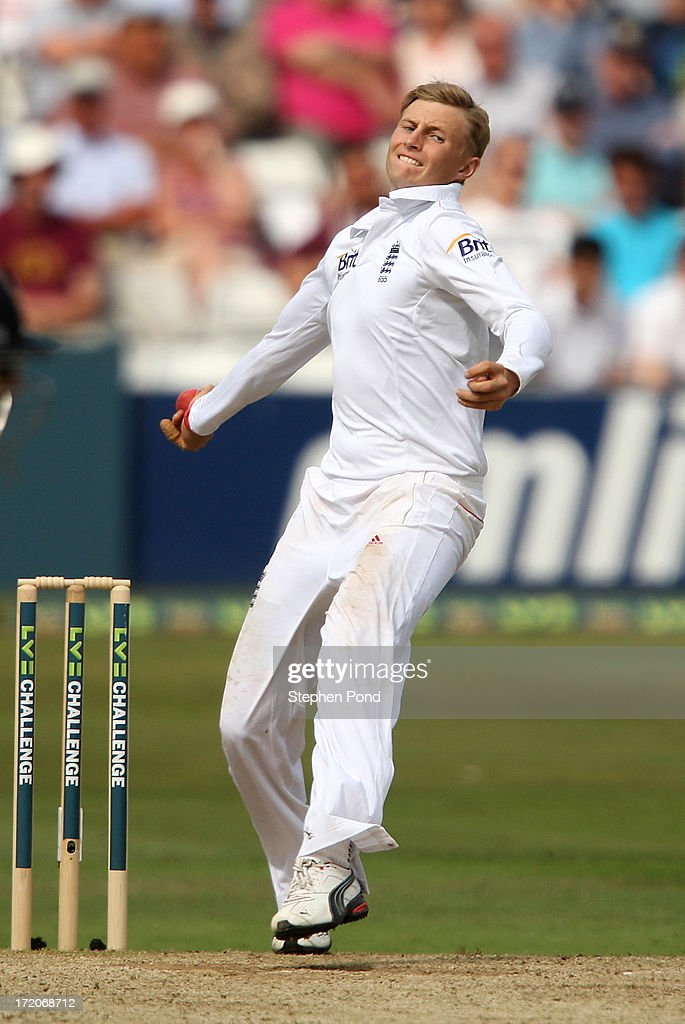 <a gi-track='captionPersonalityLinkClicked' href=/galleries/search?phrase=Joe+Root&family=editorial&specificpeople=6688996 ng-click='$event.stopPropagation()'>Joe Root</a> of England bowls during day two of the Essex v England LV= Challenge match at the Ford County Ground on July 1, 2013 in Chelmsford, England.