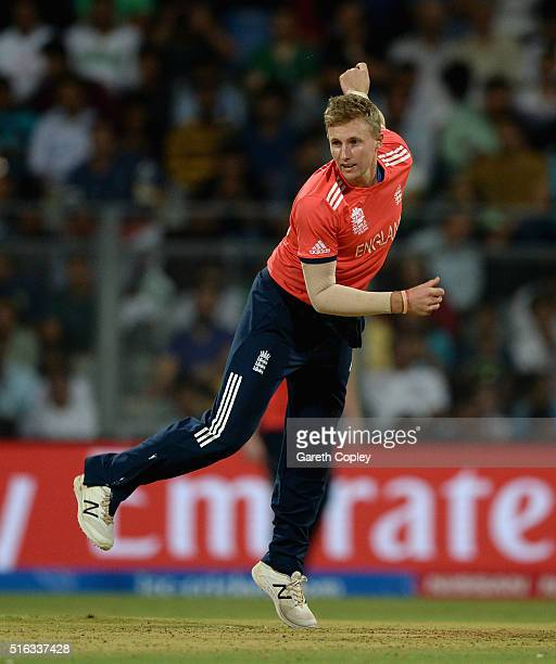 Joe Root of England bowls during the ICC World Twenty20 India 2016 Super 10s Group 1 match between South Africa and England at Wankhede Stadium on...