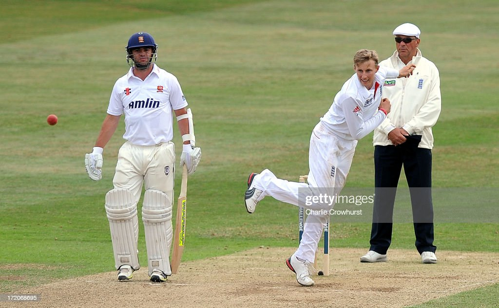 <a gi-track='captionPersonalityLinkClicked' href=/galleries/search?phrase=Joe+Root&family=editorial&specificpeople=6688996 ng-click='$event.stopPropagation()'>Joe Root</a> of England bowls during the LV=Challenge Day 2 match between Essex and England at Ford County Ground on July 01, 2013 in Chelmsford, England.