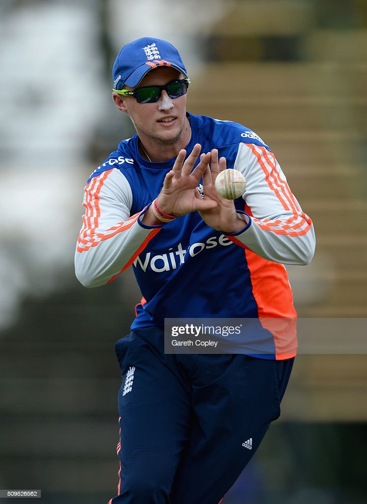 <a gi-track='captionPersonalityLinkClicked' href=/galleries/search?phrase=Joe+Root&family=editorial&specificpeople=6688996 ng-click='$event.stopPropagation()'>Joe Root</a> of England catches during a nets session at Bidvest Stadium on February 11, 2016 in Johannesburg, South Africa.