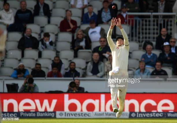 Joe Root of England catches Morne Morkel of South Africa during the fourth day of the 4th Investec Test match between England and South Africa at Old...