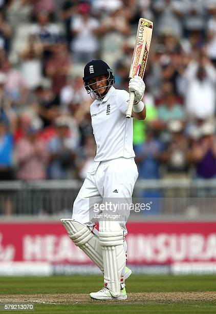 Joe Root of England celebrates 250 during day two of the 2nd Investec Test between England and Pakistan at Old Trafford on July 23 2016 in Manchester...