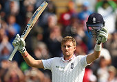 Joe Root of England celebrates after reaching his century during day one of the 1st Investec Ashes Test match between England and Australia at SWALEC...