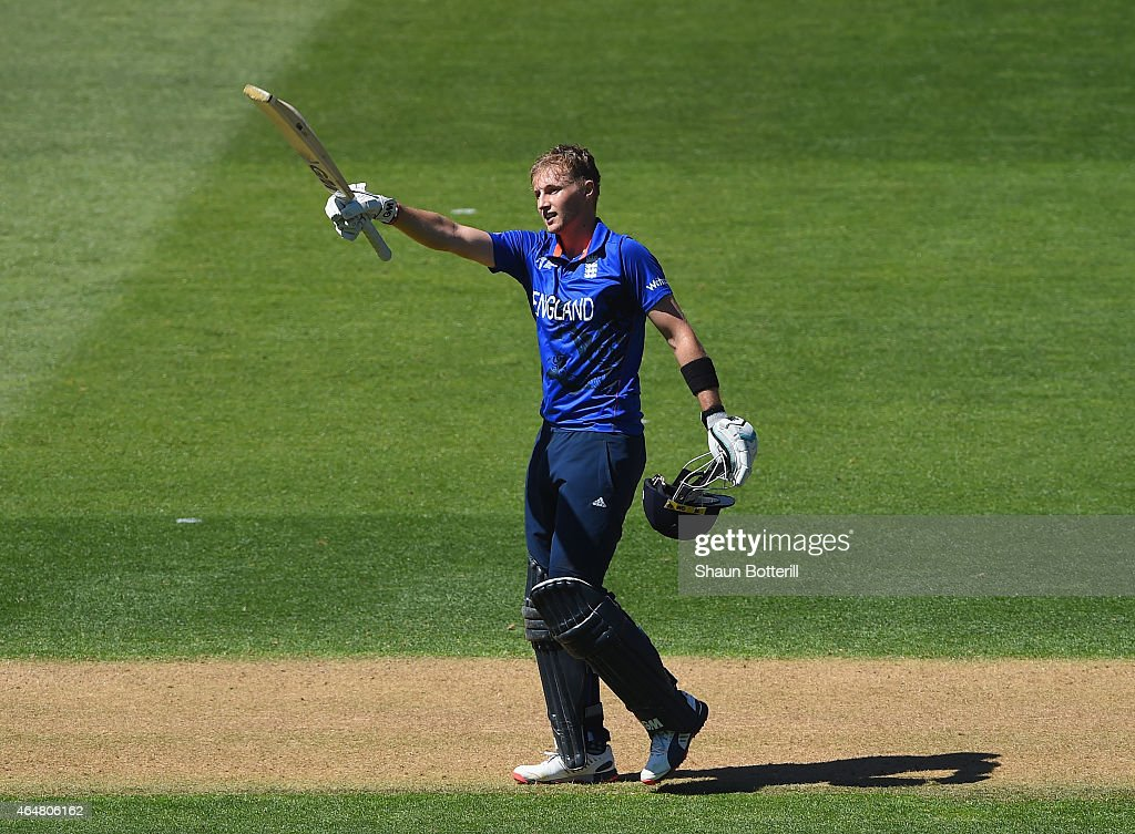 <a gi-track='captionPersonalityLinkClicked' href=/galleries/search?phrase=Joe+Root&family=editorial&specificpeople=6688996 ng-click='$event.stopPropagation()'>Joe Root</a> of England celebrates after reaching his century during the 2015 ICC Cricket World Cup match between England and Sri Lanka at Wellington Regional Stadium on March 1, 2015 in Wellington, New Zealand.
