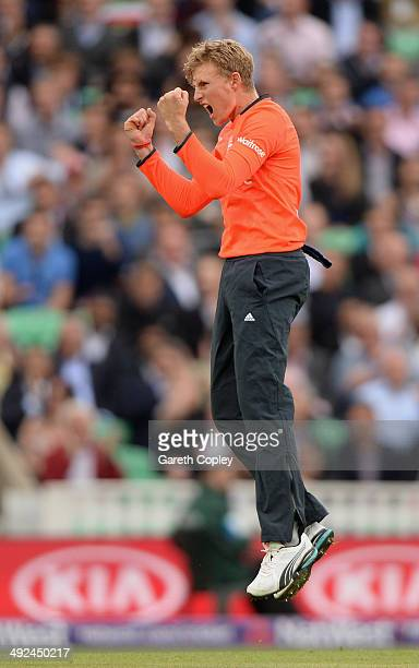 Joe Root of England celebrates dismissing Dinesh Chandimal of Sri Lanka during the NatWest International T20 match between England and Sri Lanka at...
