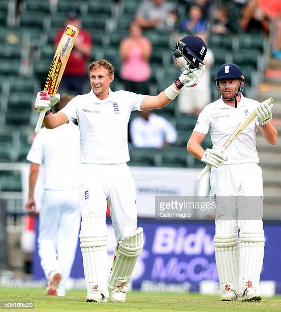 Joe Root of England celebrates his 100 runs during day 2 of the 3rd Test match between South Africa and England at Bidvest Wanderers Stadium on...