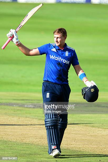 Joe Root of England celebrates his 100 runs during the 4th Momentum ODI between South Africa and England at Bidvest Wanderers Stadium on February 12...