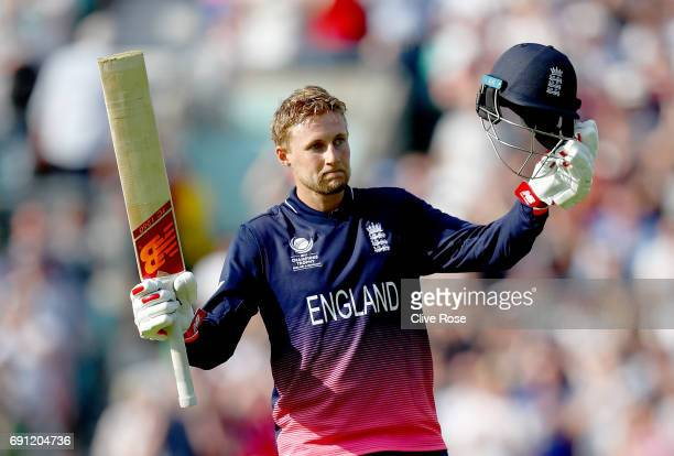 Joe Root of England celebrates his century during the ICC Champions trophy cricket match between England and Bangladesh at The Oval in London on June...