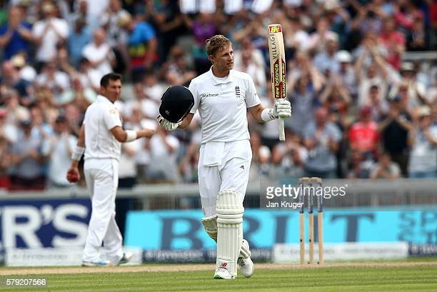 Joe Root of England celebrates his double century during day two of the 2nd Investec Test between England and Pakistan at Old Trafford on July 23...