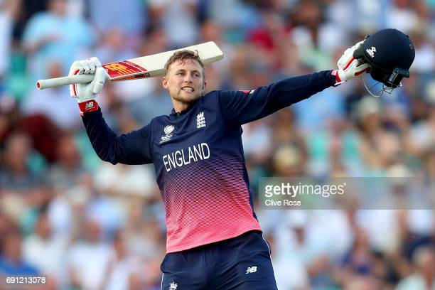 Joe Root of England celebrates hitting the winning runs as England the ICC Champions trophy cricket match between England and Bangladesh at The Oval...