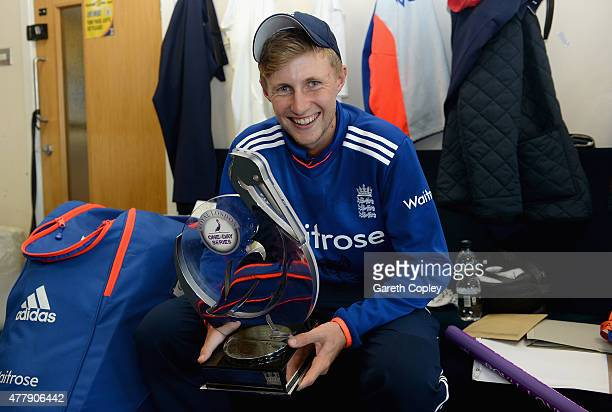 Joe Root of England celebrates in the dressing room after winning the 5th ODI Royal London OneDay match between England and New Zealand at Emirates...