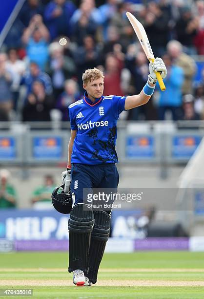 Joe Root of England celebrates reaching his 100 during the 1st ODI Royal London OneDay Series 2015 match between England and NewZealand at Edgbaston...