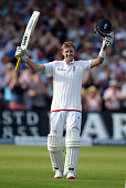 Joe Root of England celebrates reaching his century during day one of the 4th Investec Ashes Test match between England and Australia at Trent Bridge...
