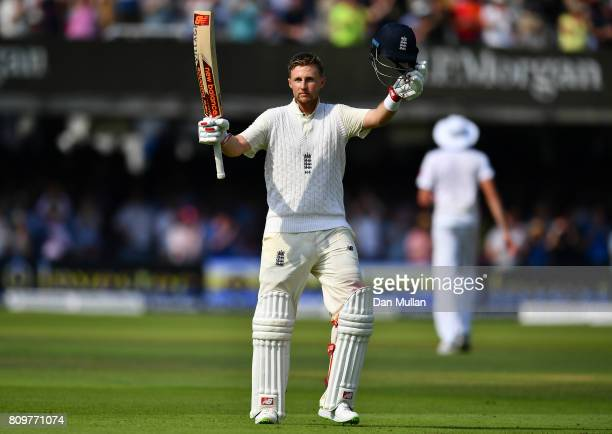 Joe Root of England celebrates reaching his century during day one of the 1st Investec Test Match between England and South Africa at Lord's Cricket...