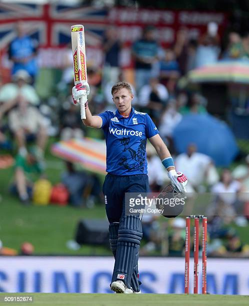 Joe Root of England celebrates reaching his century during the 3rd Momentum ODI match between South Africa and England at Supersport Park on February...