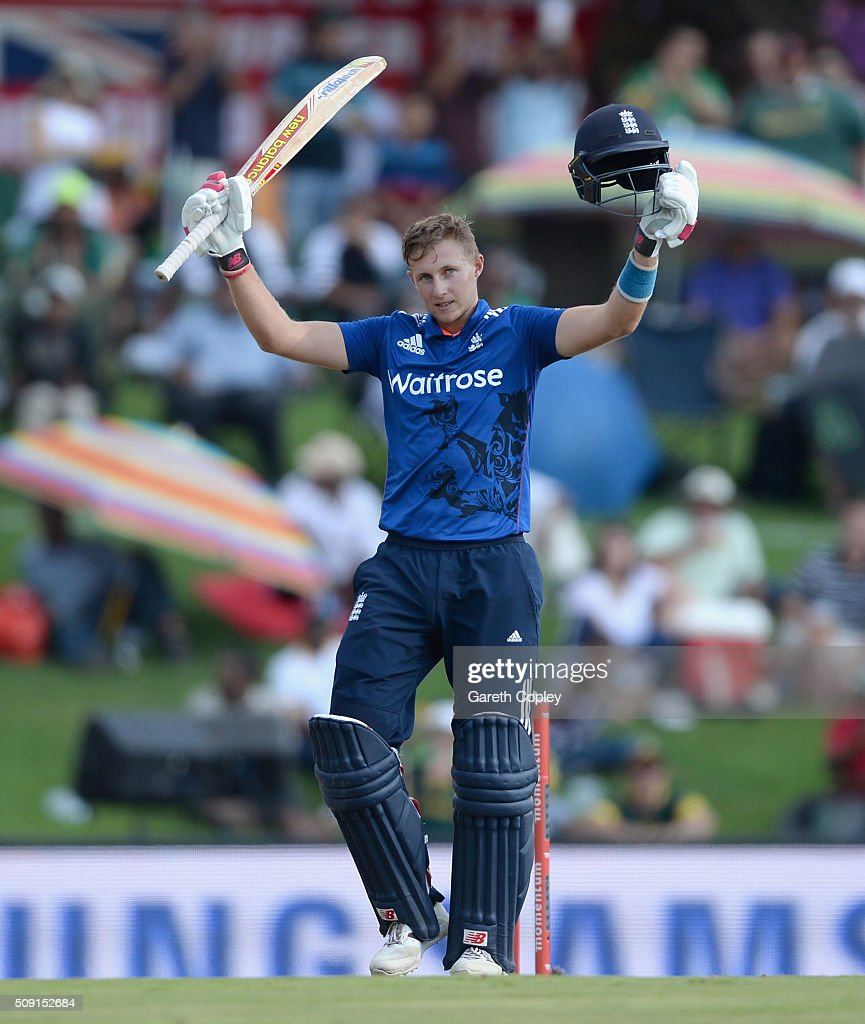 <a gi-track='captionPersonalityLinkClicked' href=/galleries/search?phrase=Joe+Root&family=editorial&specificpeople=6688996 ng-click='$event.stopPropagation()'>Joe Root</a> of England celebrates reaching his century during the 3rd Momentum ODI match between South Africa and England at Supersport Park on February 9, 2016 in Centurion, South Africa.