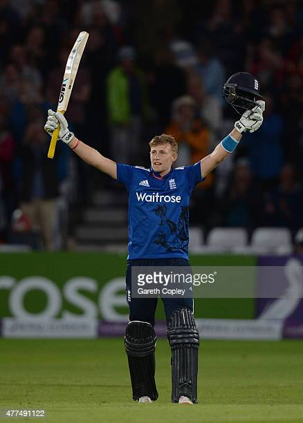 Joe Root of England celebrates reaching his century during the 4th ODI Royal London OneDay match between England and New Zealand at Trent Bridge on...