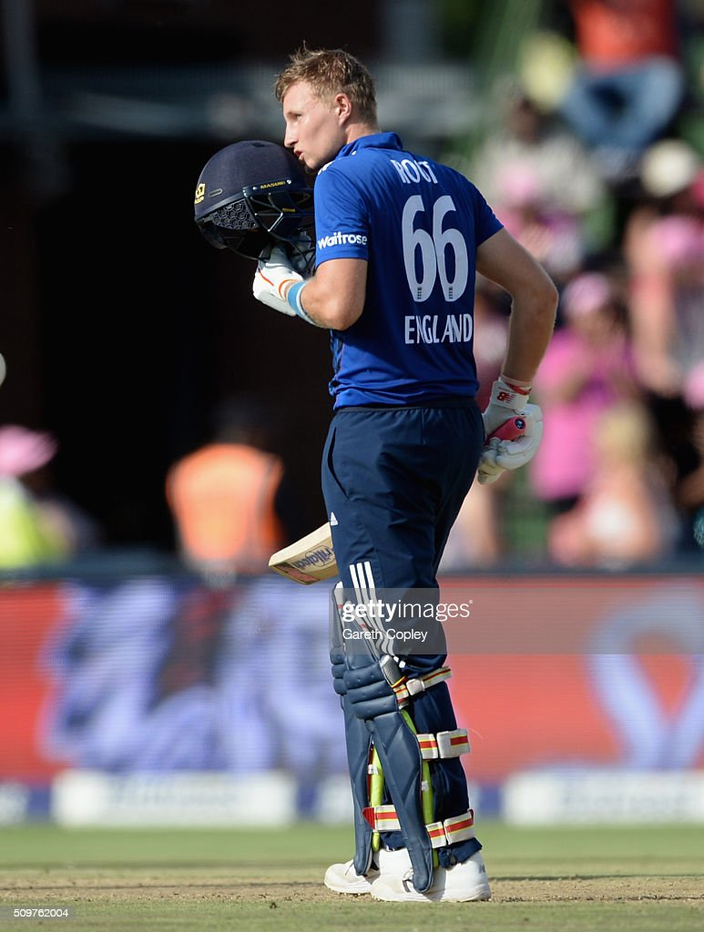 <a gi-track='captionPersonalityLinkClicked' href=/galleries/search?phrase=Joe+Root&family=editorial&specificpeople=6688996 ng-click='$event.stopPropagation()'>Joe Root</a> of England celebrates reaching his century during the 4th Momentum ODI between South Africa and England at Bidvest Wanderers Stadium on February 12, 2016 in Johannesburg, South Africa.