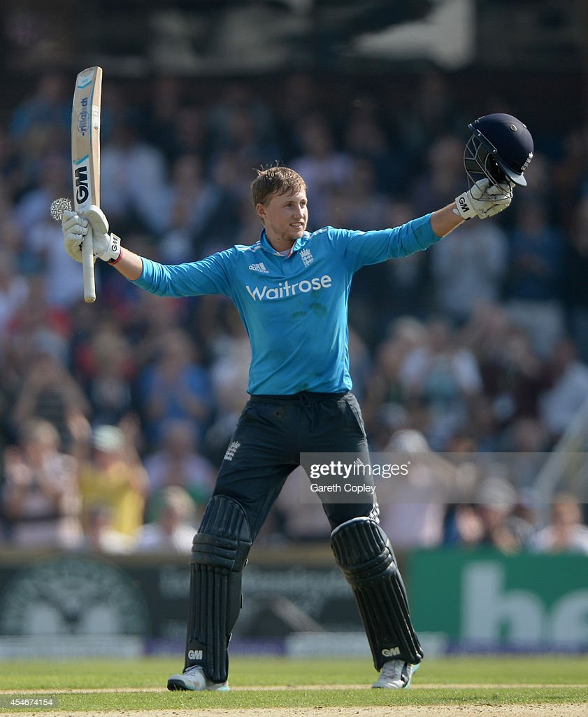 Joe Root of England celebrates reaching his century during the 5th Royal London One Day International between England and India at Headingley on...