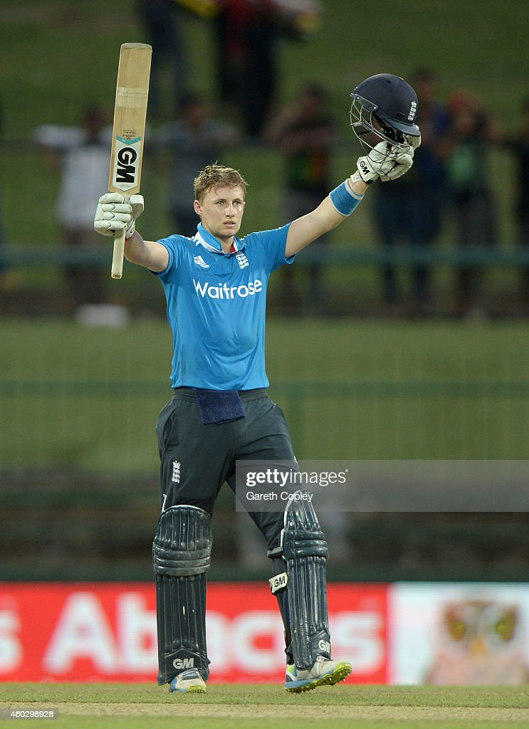 <a gi-track='captionPersonalityLinkClicked' href=/galleries/search?phrase=Joe+Root&family=editorial&specificpeople=6688996 ng-click='$event.stopPropagation()'>Joe Root</a> of England celebrates reaching his century during the 5th One Day International between Sri Lanka and England at Pallekele Cricket Stadium on December 11, 2014 in Kandy, Sri Lanka.