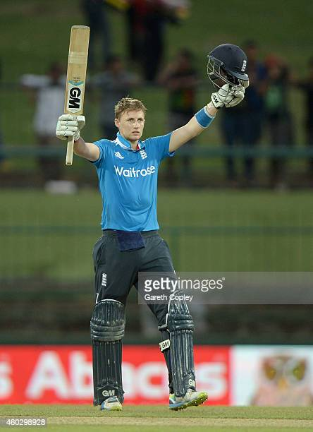 Joe Root of England celebrates reaching his century during the 5th One Day International between Sri Lanka and England at Pallekele Cricket Stadium...