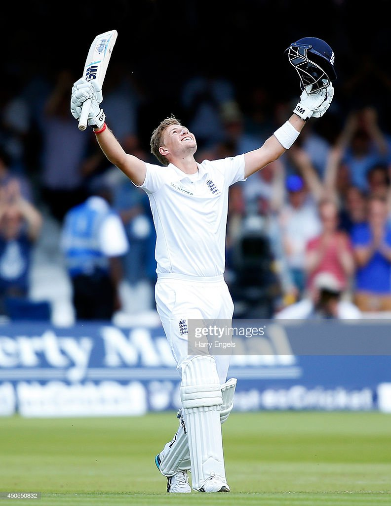 <a gi-track='captionPersonalityLinkClicked' href=/galleries/search?phrase=Joe+Root&family=editorial&specificpeople=6688996 ng-click='$event.stopPropagation()'>Joe Root</a> of England celebrates reaching his double century during day two of the 1st Investec Test match between England and Sri Lanka at Lord's Cricket Ground on June 13, 2014 in London, England.