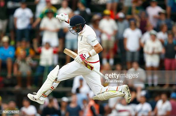 Joe Root of England celebrates scoring the winning runs to win the match and the series during day three of the 3rd Test at Wanderers Stadium on...