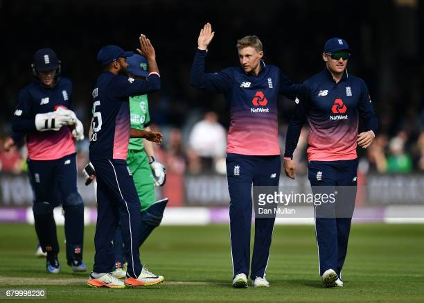 Joe Root of England celebrates taking the wicket of Niall OBrien of Ireland during the Royal London One Day International between England and Ireland...