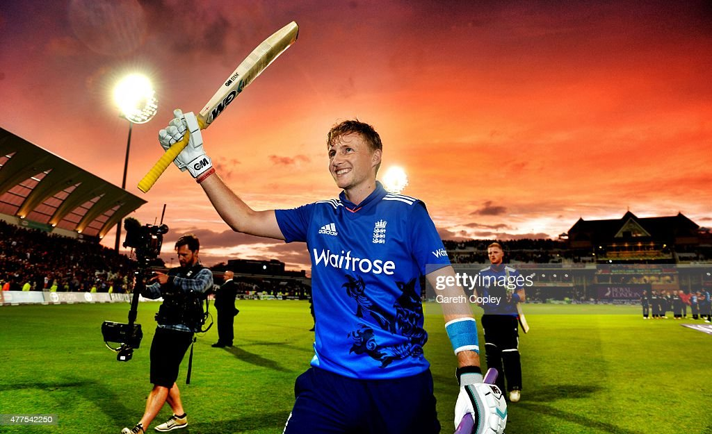 Joe Root of England celebrates winning the 4th ODI Royal London OneDay match between England and New Zealand at Trent Bridge on June 17 2015 in...