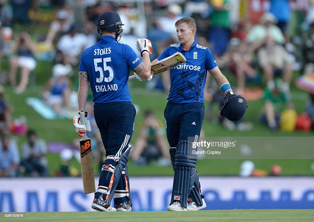 <a gi-track='captionPersonalityLinkClicked' href=/galleries/search?phrase=Joe+Root&family=editorial&specificpeople=6688996 ng-click='$event.stopPropagation()'>Joe Root</a> of England celebrates with Ben Stokes after reaching his century during the 3rd Momentum ODI match between South Africa and England at Supersport Park on February 9, 2016 in Centurion, South Africa.