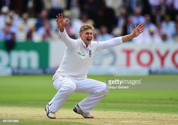 Joe Root of England claims the wicket of Steven Smith of Australia during day two of the 2nd Investec Ashes Test match between England and Australia...