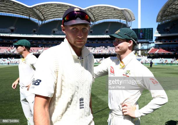 Joe Root of England congratulates Steve Smith of Australia after Australia claimed victory during day five of the Second Test match during the...