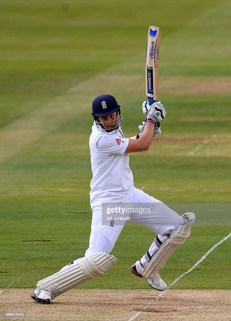 <a gi-track='captionPersonalityLinkClicked' href=/galleries/search?phrase=Joe+Root&family=editorial&specificpeople=6688996 ng-click='$event.stopPropagation()'>Joe Root</a> of England cuts during day one of 1st Investec Test match between England and New Zealand at Lord's Cricket Ground on May 16, 2013 in London, England.