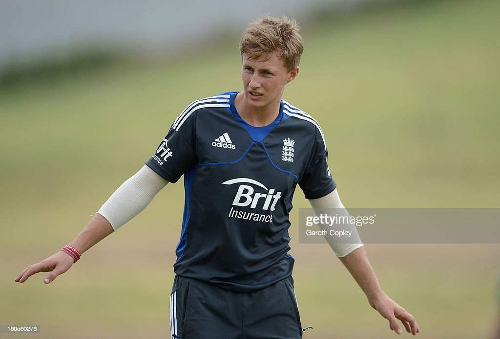 <a gi-track='captionPersonalityLinkClicked' href=/galleries/search?phrase=Joe+Root&family=editorial&specificpeople=6688996 ng-click='$event.stopPropagation()'>Joe Root</a> of England during a nets session at Cobham Oval on February 3, 2013 in Whangarei, New Zealand.