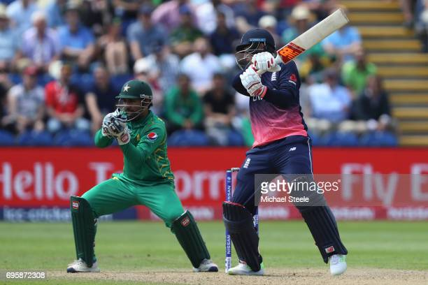 Joe Root of England edges a delivery to wicketkeeper Sarfraz Ahmed of Pakistan off the bowling of Shadab Khan during the ICC Champions Trophy...