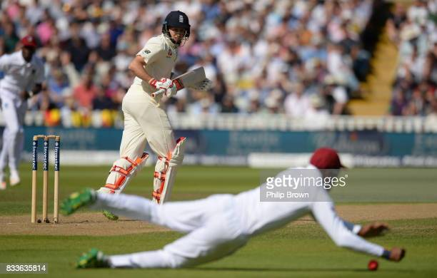 Joe Root of England edges the ball during the first day of the 1st Investec Test match between England and the West Indies at Edgbaston cricket...