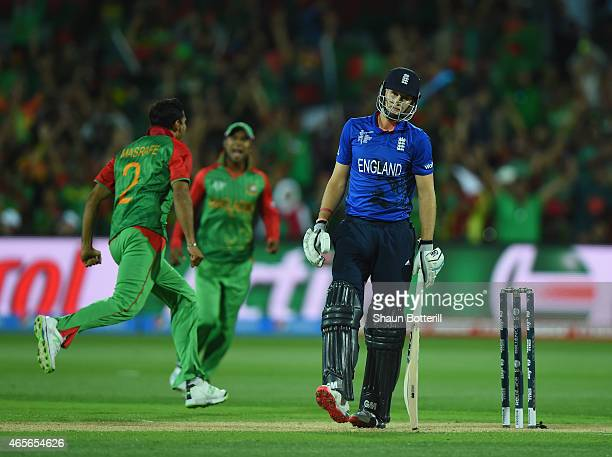 Joe Root of England heads back to the dressing room after losing his wicket to Masrafe Bin Mortaza of Bangladesh during the 2015 ICC Cricket World...