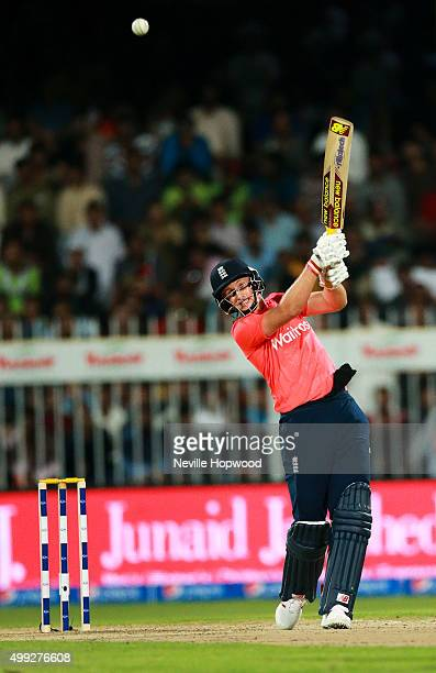 Joe Root of England hits a six during the 3rd International T20 match between Pakistan and England at Sharjah Cricket Stadium on November 30 2015 in...