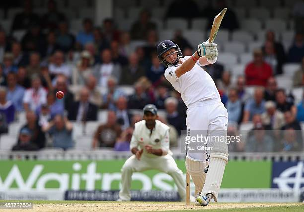 Joe Root of England hits out during day three of the 5th Investec Test match between England and India at The Kia Oval on August 17 2014 in London...