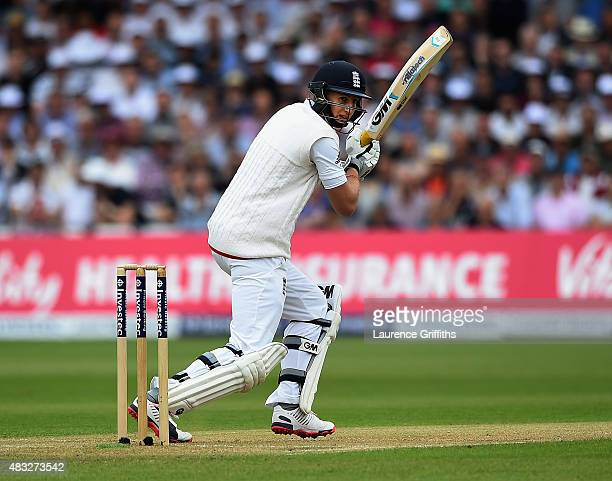 Joe Root of England hits out during day two of the 4th Investec Ashes Test match between England and Australia at Trent Bridge on August 7 2015 in...