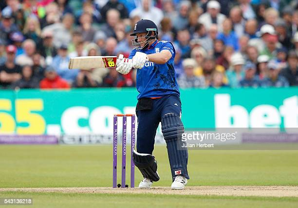 Joe Root of England hits out during The 3rd ODI Royal London OneDay match between England and Sri Lanka at The County Ground on June 26 2016 in...