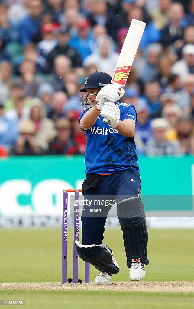 Joe Root of England hits out during The 3rd ODI Royal London One-Day match between England and Sri Lanka at The County Ground on June 26, 2016 in Bristol, England.