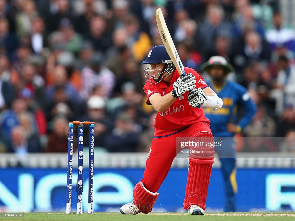 Joe Root of England hits out during the ICC Champions Trophy Group A match between England and Sri Lanka at The Kia Oval on June 13, 2013 in London, England.