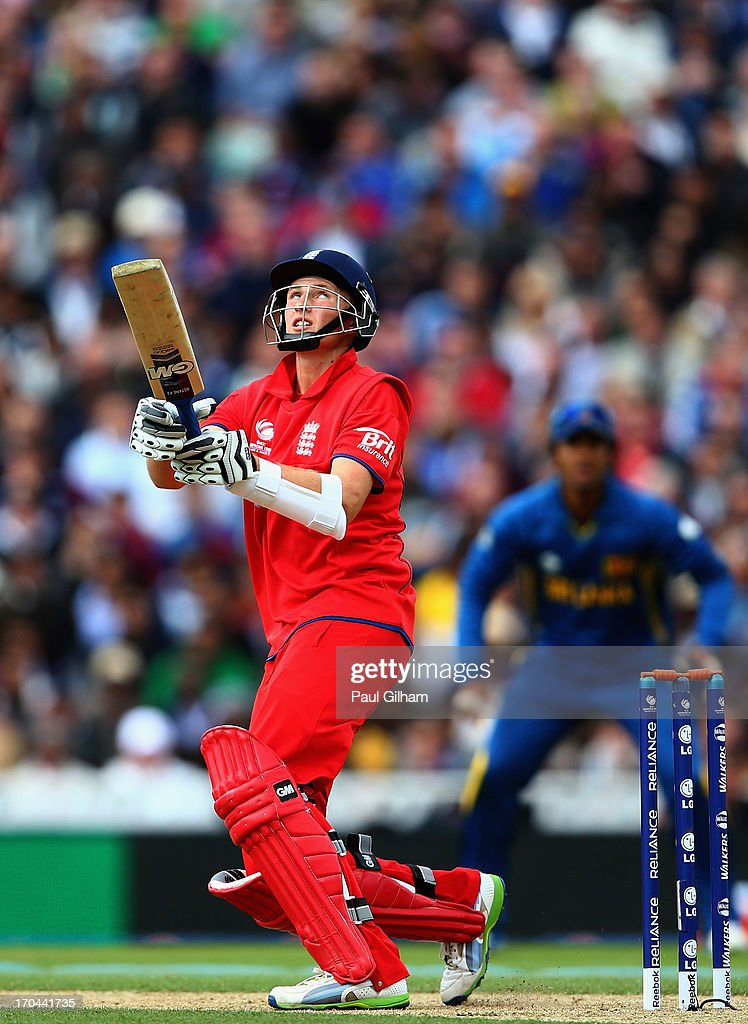 <a gi-track='captionPersonalityLinkClicked' href=/galleries/search?phrase=Joe+Root&family=editorial&specificpeople=6688996 ng-click='$event.stopPropagation()'>Joe Root</a> of England hits out during the ICC Champions Trophy Group A match between England and Sri Lanka at The Kia Oval on June 13, 2013 in London, England.