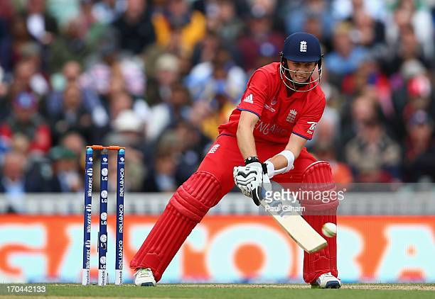 Joe Root of England hits out during the ICC Champions Trophy Group A match between England and Sri Lanka at The Kia Oval on June 13 2013 in London...