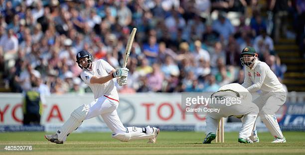 Joe Root of England hits out for six runs during day three of the 3rd Investec Ashes Test match between England and Australia at Edgbaston on July 31...