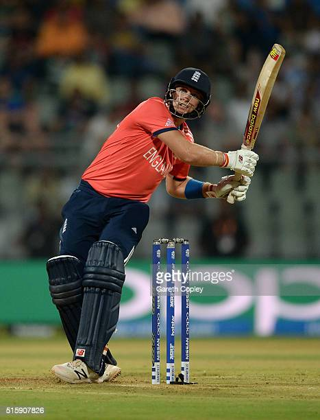 Joe Root of England hits out for six runs during the ICC World Twenty20 India 2016 Super 10s Group 1 match between West Indies and England at...