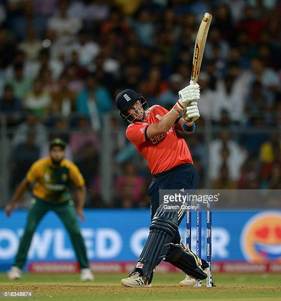 Joe Root of England hits out for six runs during the ICC World Twenty20 India 2016 Super 10s Group 1 match between South Africa and England at...