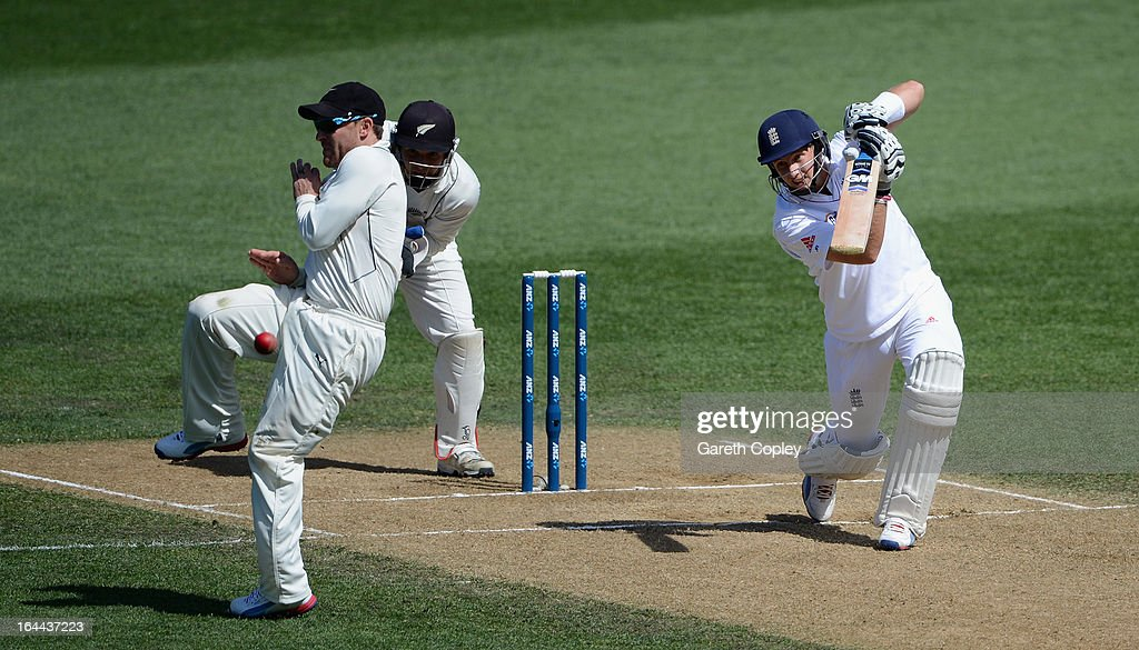 <a gi-track='captionPersonalityLinkClicked' href=/galleries/search?phrase=Joe+Root&family=editorial&specificpeople=6688996 ng-click='$event.stopPropagation()'>Joe Root</a> of England hits past New Zealand captain <a gi-track='captionPersonalityLinkClicked' href=/galleries/search?phrase=Brendon+McCullum&family=editorial&specificpeople=208154 ng-click='$event.stopPropagation()'>Brendon McCullum</a> during day three of the Third Test match between New Zealand and England at Eden Park on March 24, 2013 in Auckland, New Zealand.